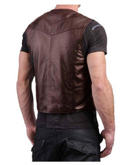 Brown Leather Waist Coat For Men