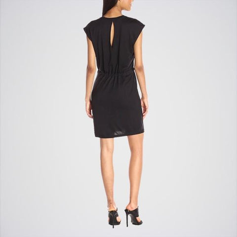 Black Sleeveless Tie Waist Dress for Women
