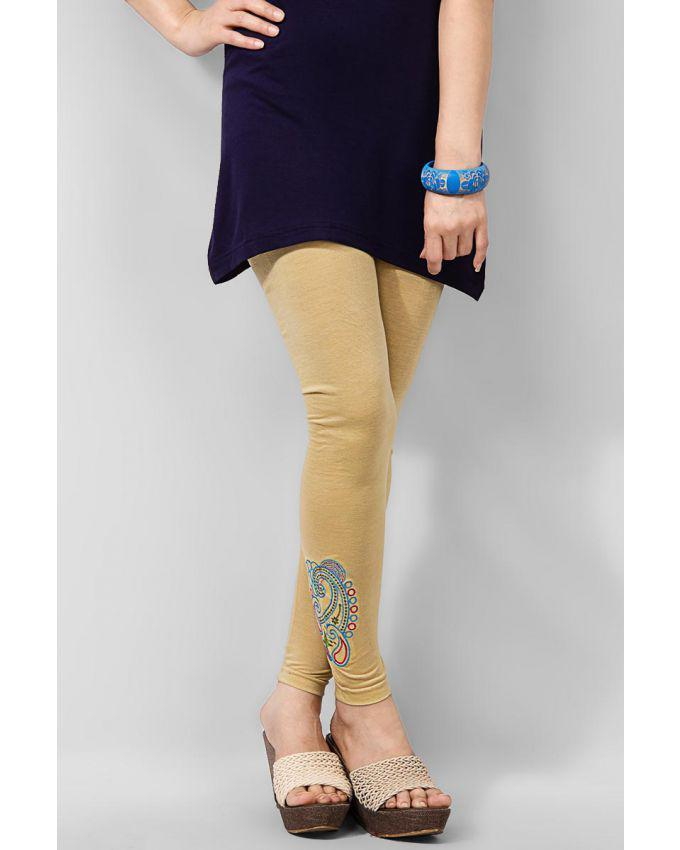 Beige Viscose Embroidered Tights