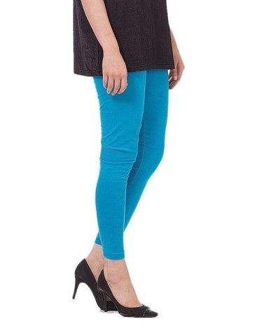 Azure Blue Viscose Tights For women