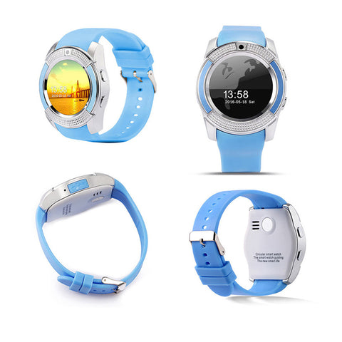 V8 Smart Watch Spor Clock With Sim Tf Card Slot Bluetooth Suitable For Apple Iphone Android Phone Smartwatch -Blue