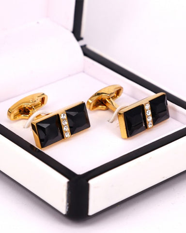 Beautiful golden with black and white crystal stone men cufflink