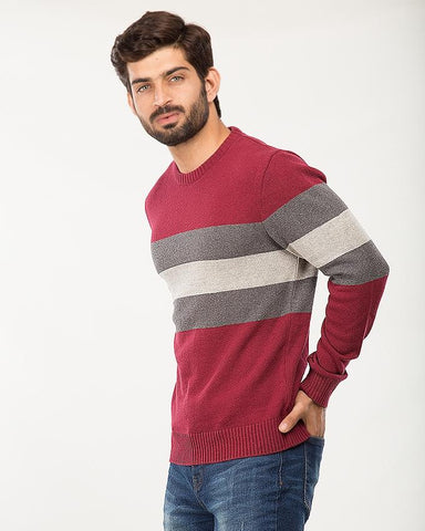 Mehroon/D.Grey/L.Grey Cotton 3 Color Panel Sweater For Men