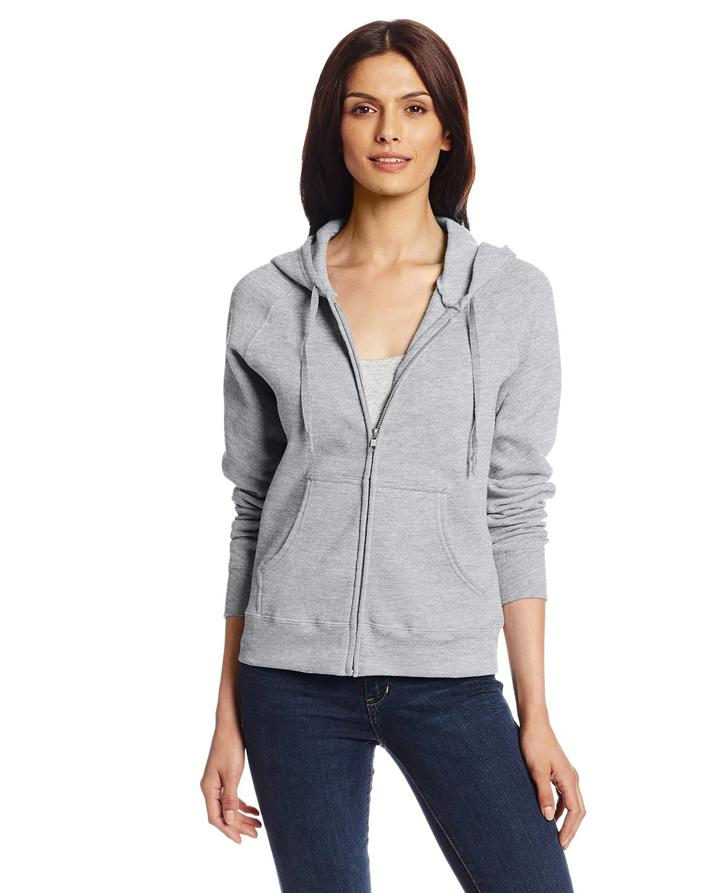 Heather Grey Zipper Fleece Hoodie For Women. SS-62