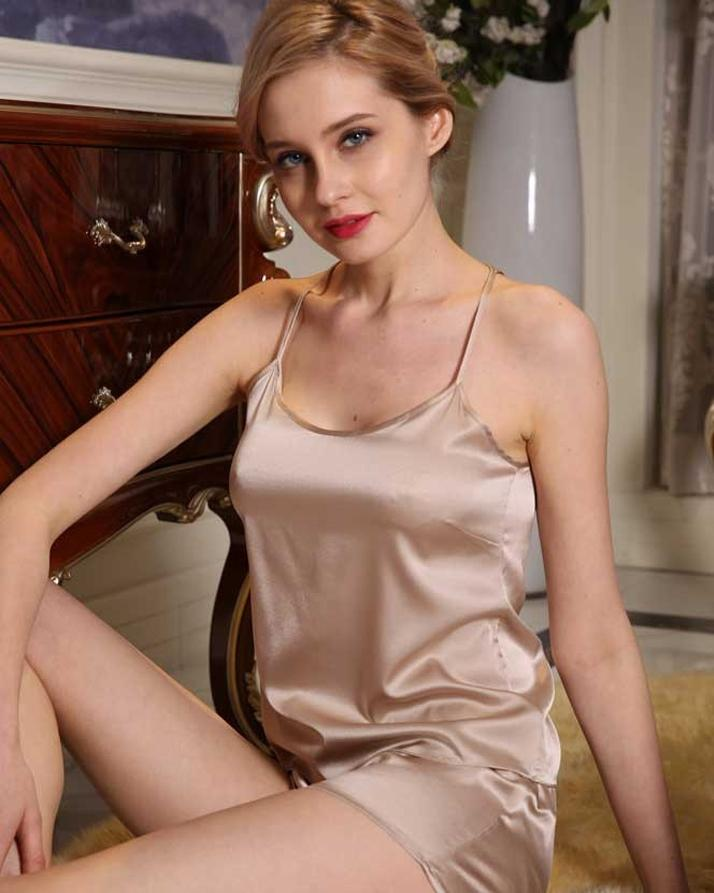 Beige Silk Sleepwear Cami Set For Women