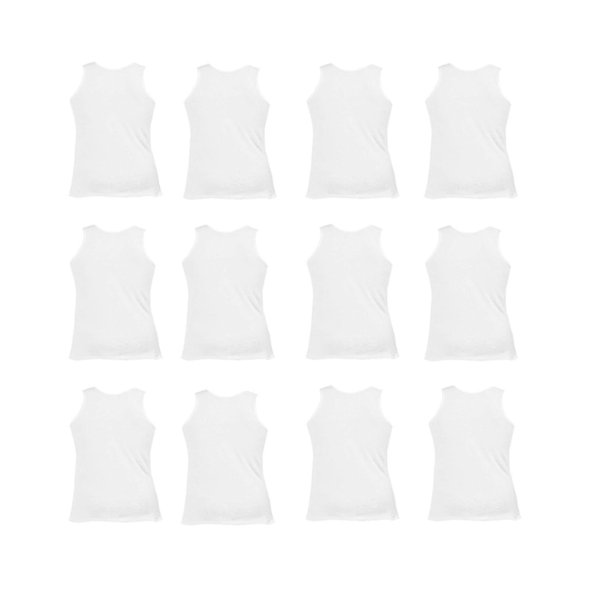 Daisy Summer Pack of 12 Cotton Polyester Vest for Men (80% Cotton 20% Polyester) - White UG-492-36