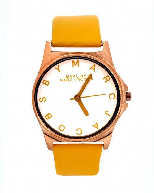 Stylish Yellow strap watch -mj