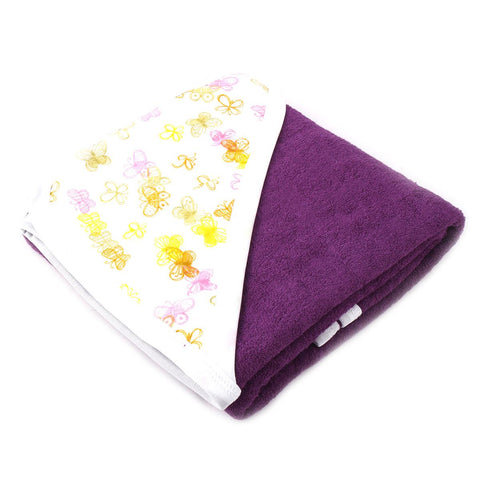 Angel Kids Hooded Double (Thick) Bath Towel For Kids (100% Cotton) 30x30 Inch  Purple