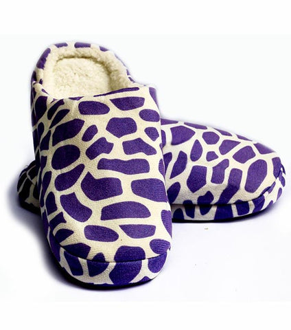 Rhizmal Purple Woolen Yarn Knitted Giraffe Pattern Plush Foam Slippers