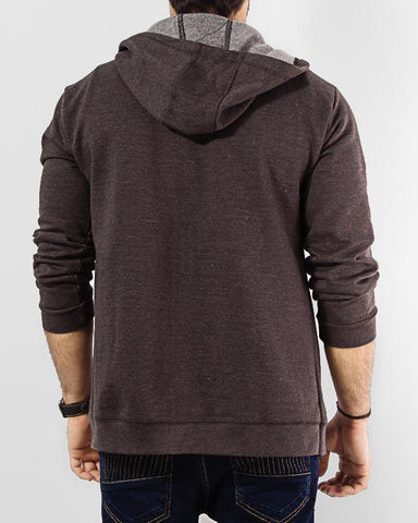 Charcoal Fleece Hoody with Front Zipper