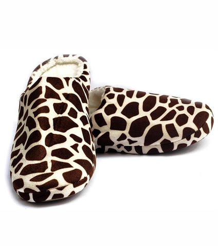Brown Woolen Giraffe Pattern Plush Foam Slippers for Women