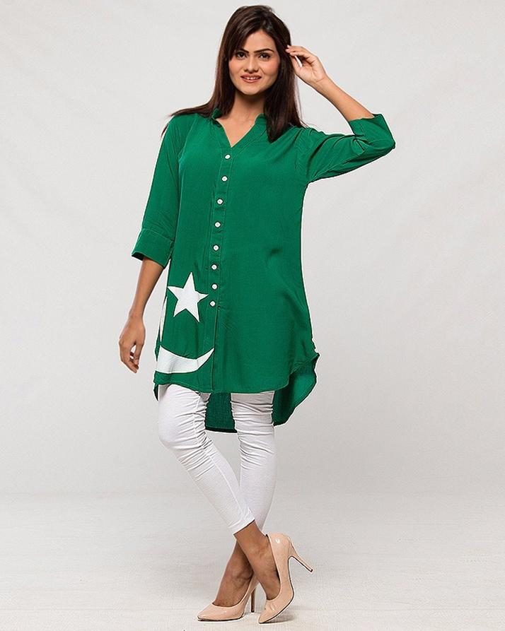 Green Independence Day Buttonedown Kurti + Tights For Women