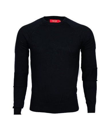 Black Plain Round Neck full sleeve Sweater For Men's