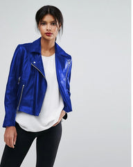 Highstreet Blue Faux Leather Jacket For Women