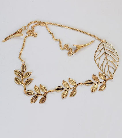 Rhizmal Golden Alloy Leaf Hair Band for Women