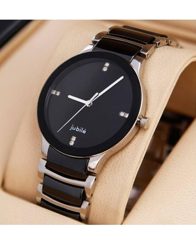Black And Silver Stainless Steel Watch For Men. WS-130