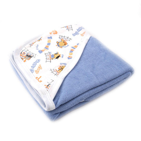 Angel Kids Hooded Double (Thick) Bath Towel For Kids (100% Cotton) 30x30 Inch  Blue