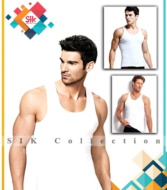 Pack of 6 - White Cotton Branded Sleeveless Packed Vest For Men