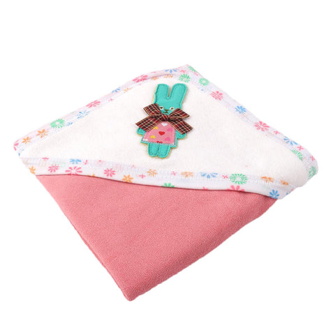 Angel Kids Hooded Single (Thin) Bath Towel For Kids (100% Cotton) 30x30 Inch  Pink