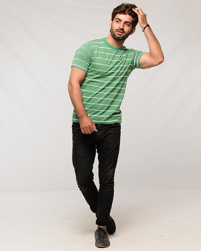 Green Cotton Tshirt With White Double Stripes