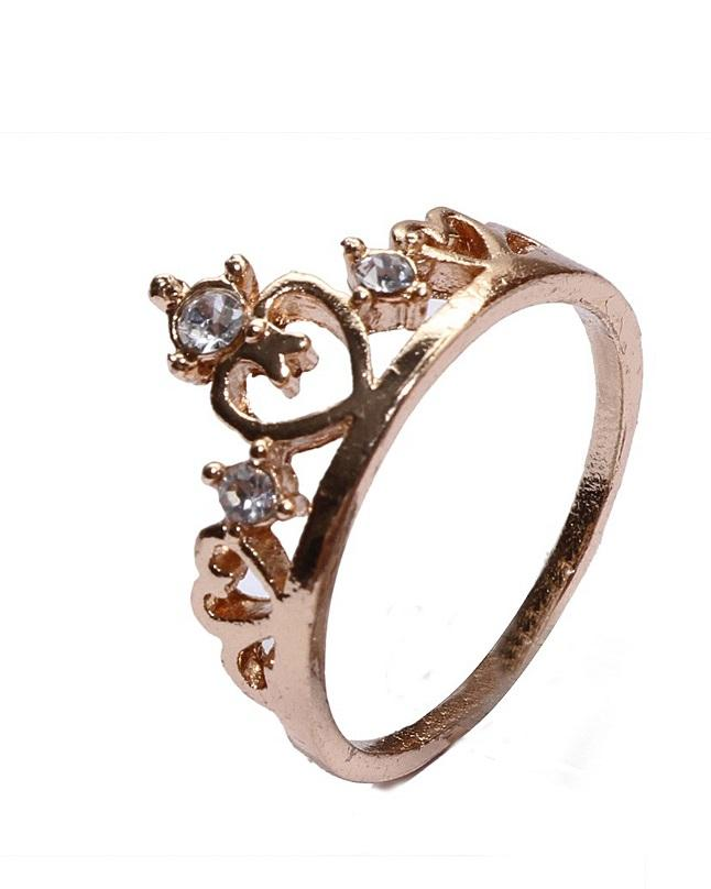Fashion Infinity Golden Embroidered Crown Design Ring For Women