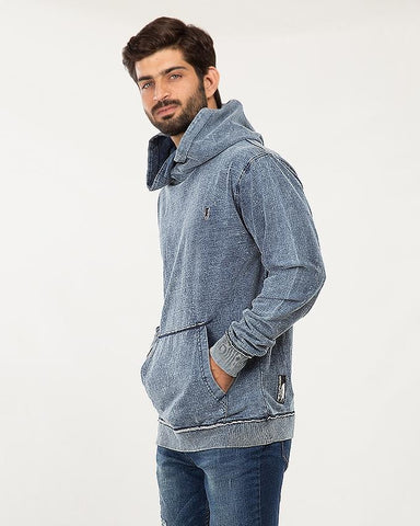 Navy/Blue Cotton Indigo Hoodie Cltn Denim For Men