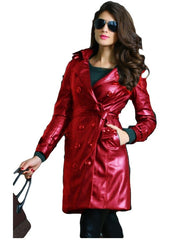 Orange Leather Long Coat For Women