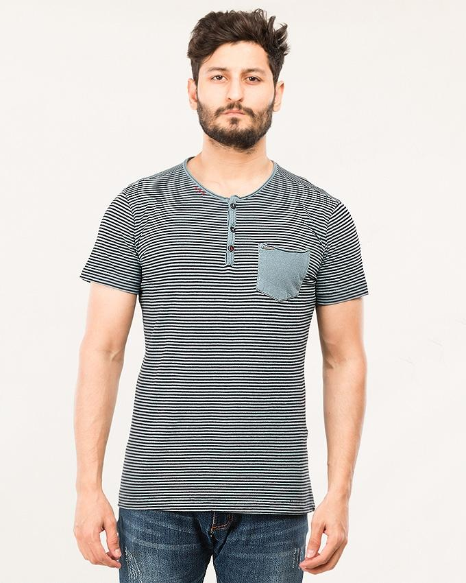 Blue Cotton Henley For Men-Chs18-09-S