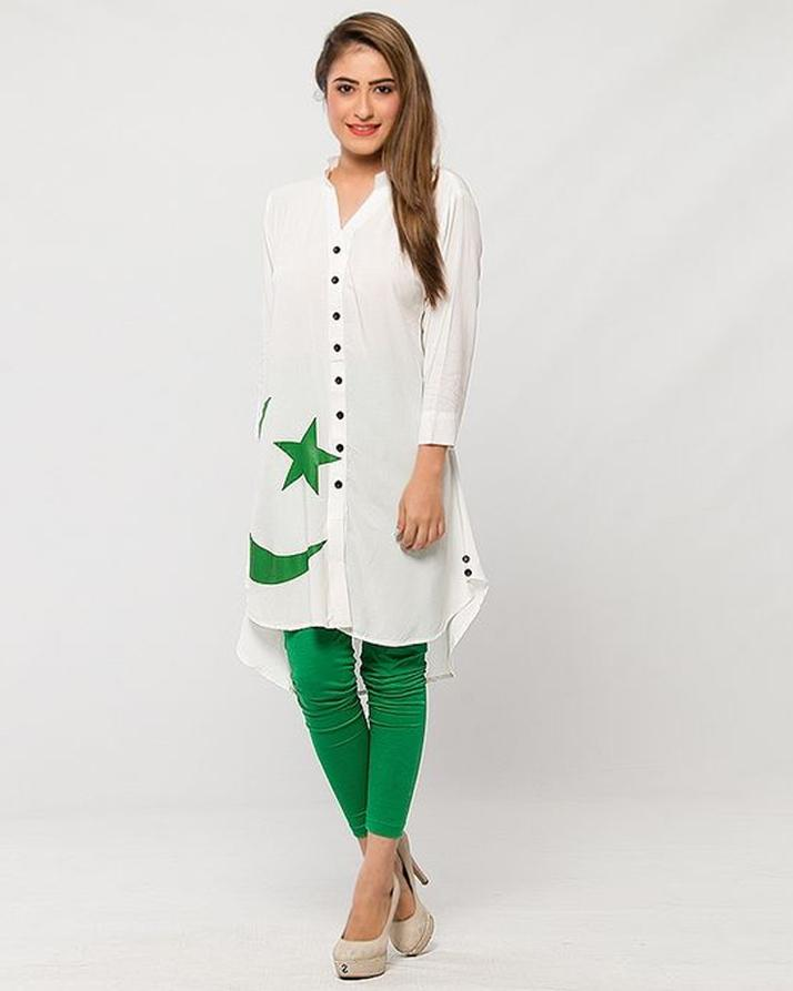 Pack of 2 Independence Day Buttonedown Kurti + Tights For Women