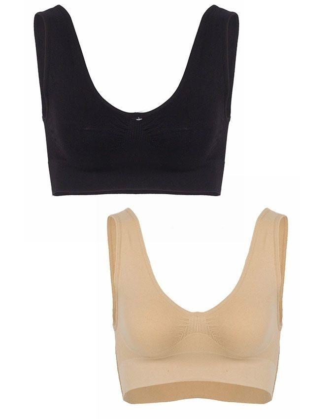 Pack of 2 - Beige & Black Cotton Air Bra For Women