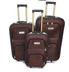 Wedding Luggage Set One Side 4 Wheels Trolley / 3Pcs/Front Pockets-wedbrown
