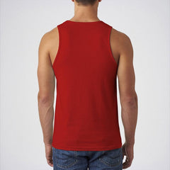 Red Cotton Printed Tank Top For Men - SPD-000