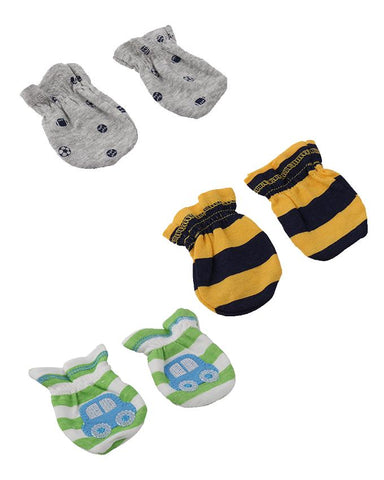Pack of 3  Soft Mittens for Newborn (06 Month) Babies  Multicolour