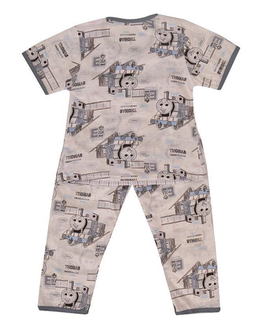 Pack of 2 Pure Cotton Night Suit (Pajama + Tshirt) for Boys - Cartoon Train UG-417-6