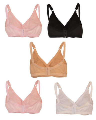 Pack of 5 Roses Luxury Soft Cotton 3 Hooks Embroidered Bra for Women - Multicolour UG-520-32