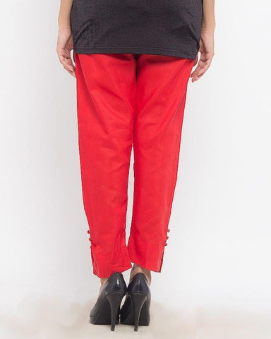 Light Red Cotton Cigarette Pant for Women