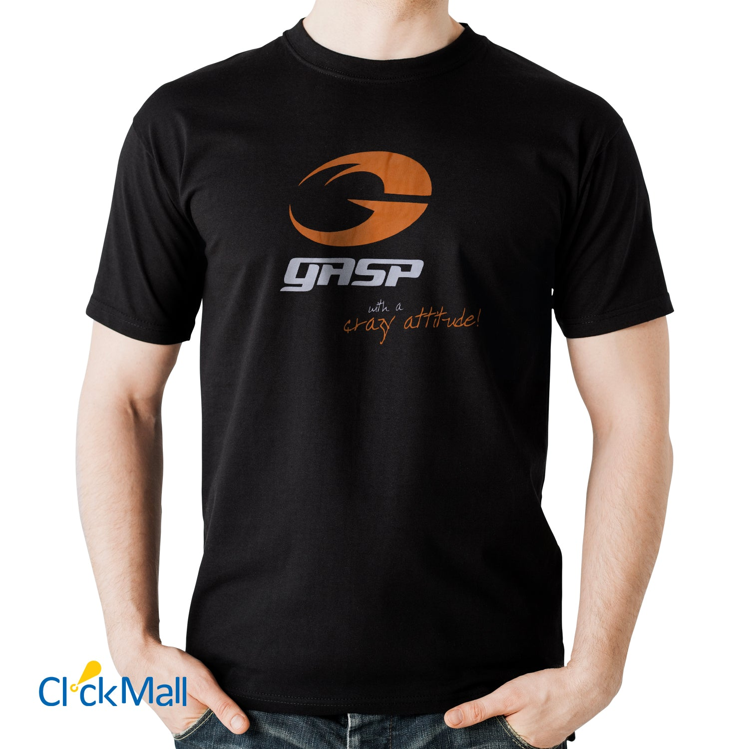 Time Line Black GASP Printed Polyester Sports T Shirt for Men