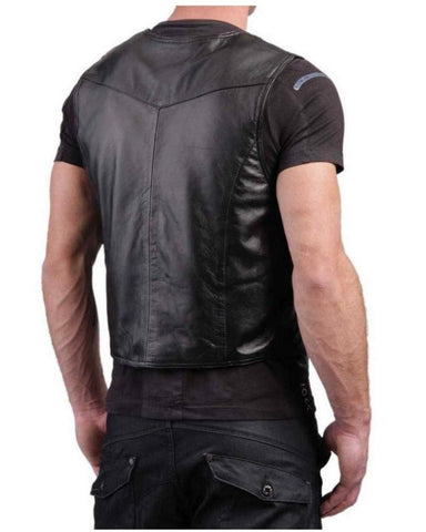Black Leather Waist Coat For Men
