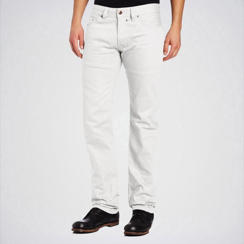 Men's White Regular Slim Straight Leg Jeans. Aj-Wh55