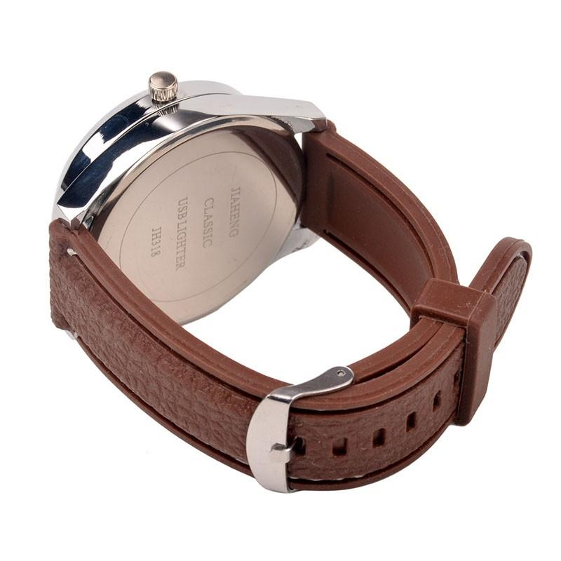 Brown - USB Rechargeable Lighter Watch