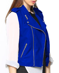 Blue Leather Jacket For Women