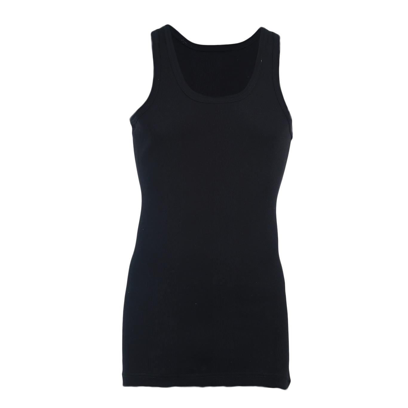 Softy Pure Cotton Ribbed Vest for Men - Black UG-446-S