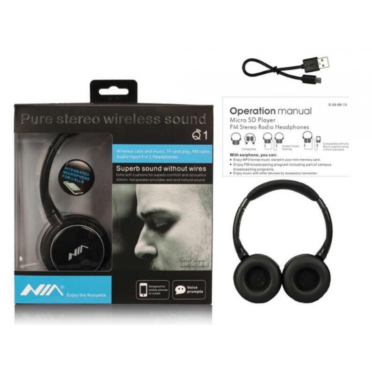 c001b556c4f Electrotech Wireless Bass Headphones Bluetooth Headsets Nia Q1-4 in1 With  Micro SD AUX Slot