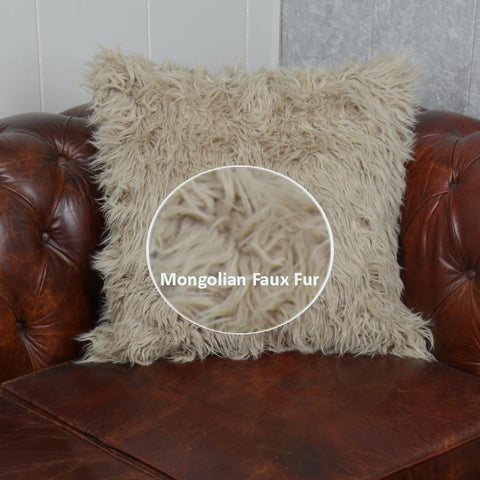 Faux Fur Cushion Cover, Deluxe Home Decorative Super Soft Plush Mongolian Faux Fur Throw Pillow Cover (20X 20 Inch)