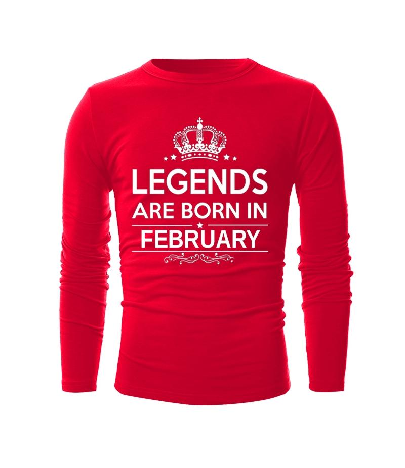 Red Legends Are Born In February T-shirt For Men