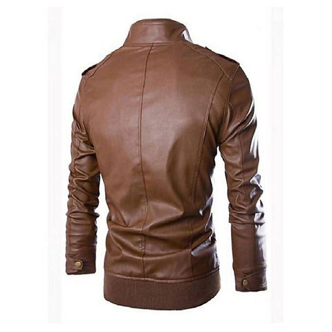 Men's Slim Fit Pu Leather Choclate Brown Jacket MB-85
