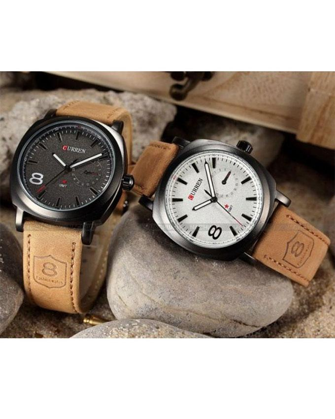 Pack Of 2 - Brown Leather Strap Watch For Men. SS-43