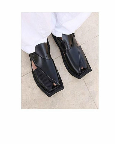 Milano Mall Black Pure Leather Peshawari Sandals for Men