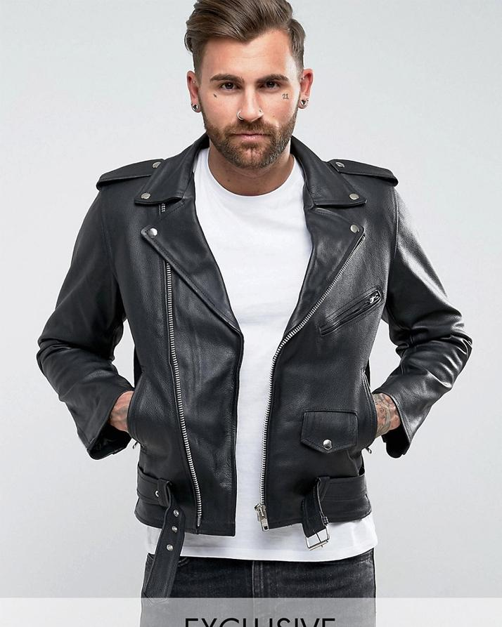 Black Faux Leather Highstreet Jacket for Men