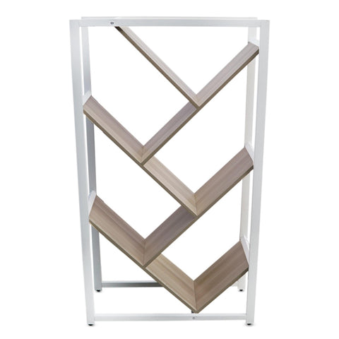 Sayer Book Rack - Wood Color & White Frame